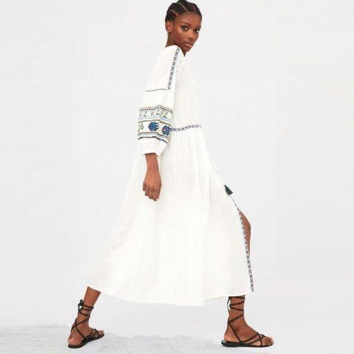 Weißes kurzes Hippie Kleid